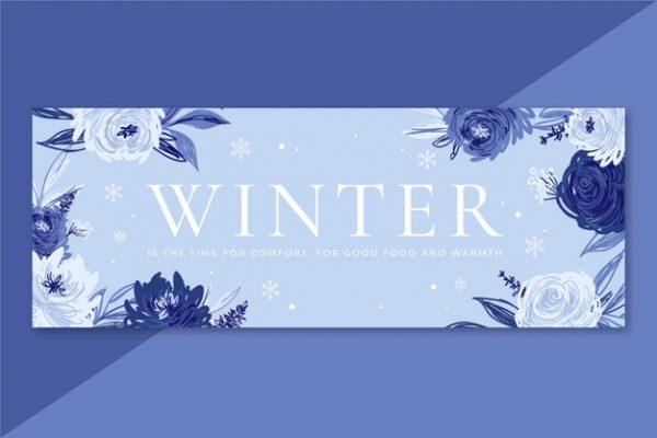 وکتور آماده دانلود قالب پروفایل فیس بوک زمستانی با گل