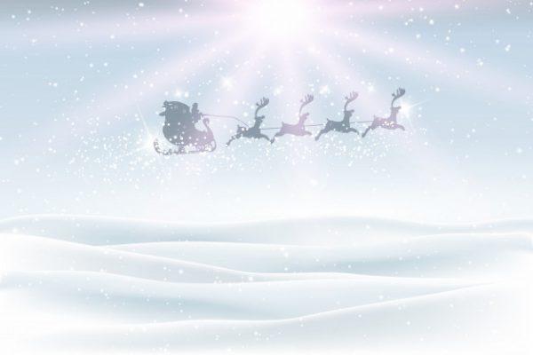 فایل psd وکتور چشم انداز زمستانی با آسمان پرواز سورتمه ی بابانوئل