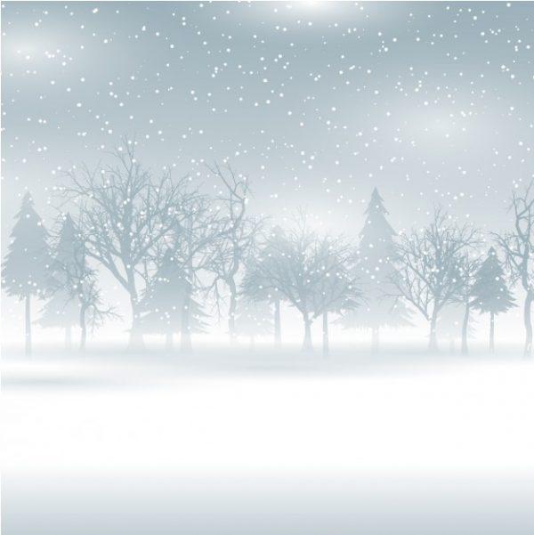 فایل آماده دانلود وکتور منظره بارش برف جنگل برفی
