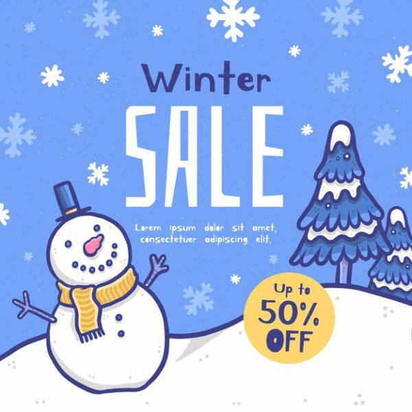 فایل psd وکتور تبلیغات فروش زمستانی با المان های زمستانی
