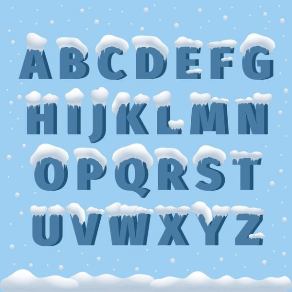 وکتور آماده دانلود الفبای برفی abc حروف الفبا زمستانی
