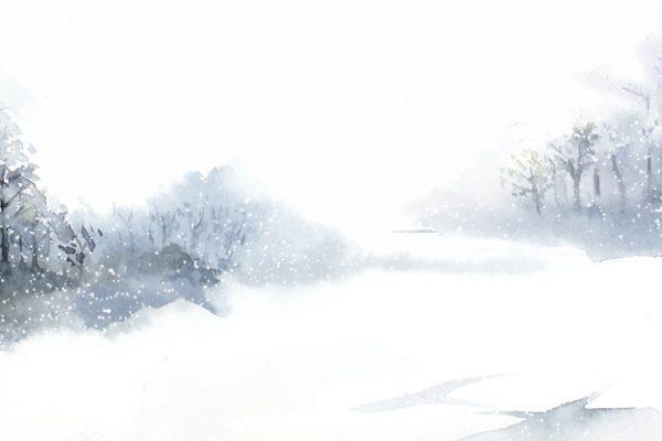 وکتور آماده دانلود منظره زمستانی با آبرنگ نقاشی شده