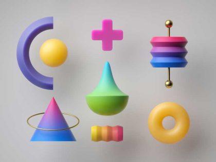 تصویر سه بعدی علامت جمع و هرم
