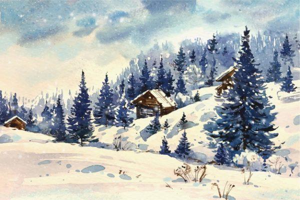 فایل psd وکتور چشم انداز زمستانی زیبا طراحی آبرنگ