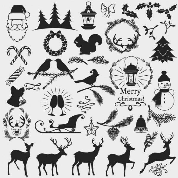 فایل psd وکتور المانهای کریسمس سفید سیاه