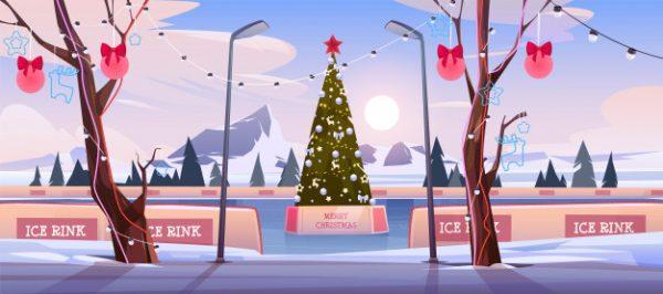 فایل آماده دانلود وکتور پیست یخ با درخت کاج تزئین شده