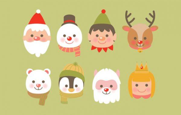 وکتور آماده دانلود نمادهای کریسمس با گوزن شمالی بابانوئل خرس آدم برفی