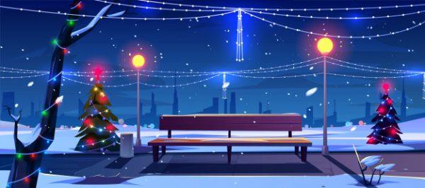 وکتور آماده دانلود شب کریسمس پارک تزئین شده