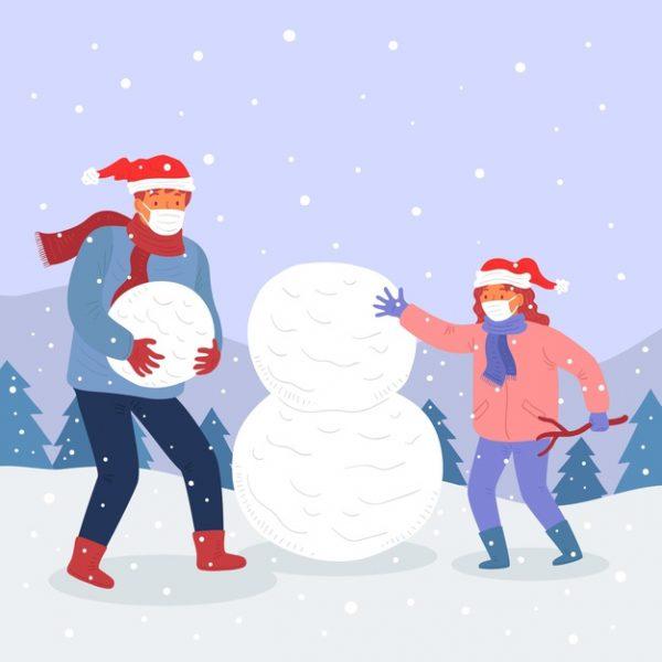 فایل psd وکتور صحنه برف کریسمس با ماسک پوشیدن