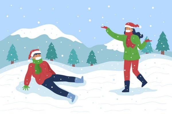 فایل آماده دانلود وکتور صحنه برف بازی بچه ها با ماسک پوشیدن