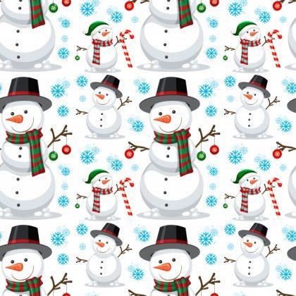فایل آماده دانلود وکتور الگوی یکپارچه آدم برفی کریسمس