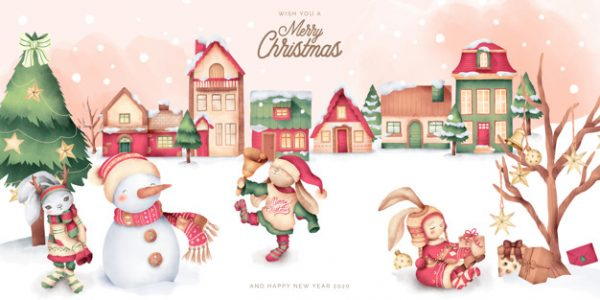 وکتور آماده دانلود صحنه کریسمس زیبا با شخصیت های شهر زمستانی