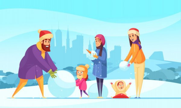 وکتور آماده دانلود تعطیلات زمستانی خانوادگی و ساخت آدم برفی