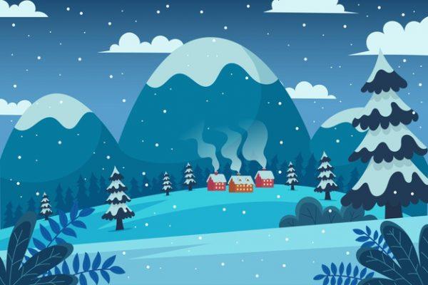 فایل psd وکتور منظره زمستان پوشیده از برف و خانه های شیروانی و جنگل و کوهستان