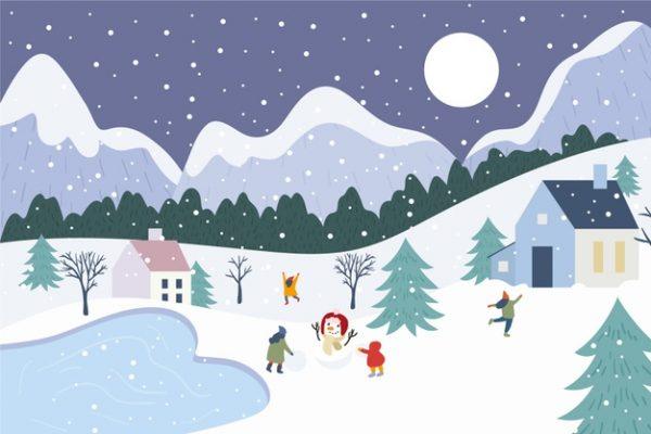 فایل آماده دانلود وکتور چشم انداز برف بازی زمستانی