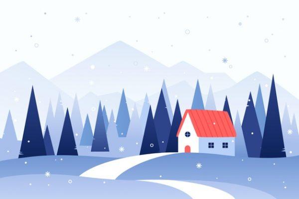 فایل psd وکتور منظره زمستانی کلبه در جنگل