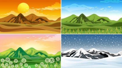 فایل psd وکتور چهار فصل طبیعت