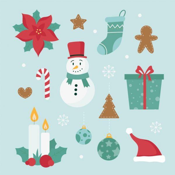 فایل آماده دانلود وکتور مجموعه المانهای زمستان و کریسمس