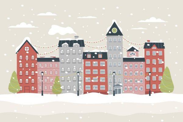 فایل psd وکتور منظره شهر در کریسمس برفی