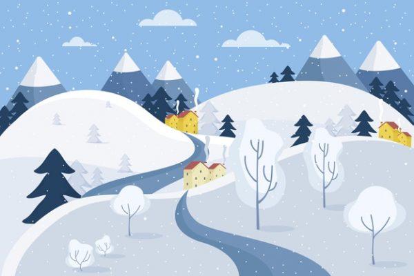فایل psd وکتور منظره زمستانی پوشیده از برف