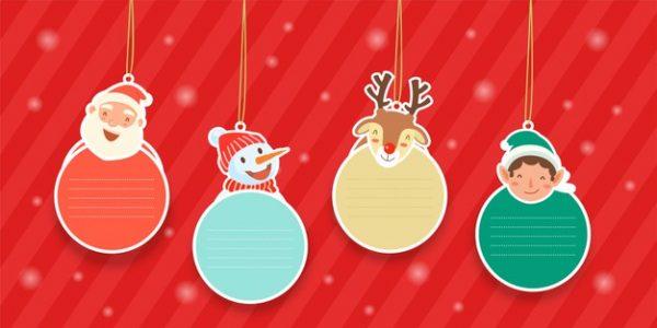فایل psd وکتور نمادهای تزئینی آویز با گوزن شمالی بابا نوئل و آدم برفی