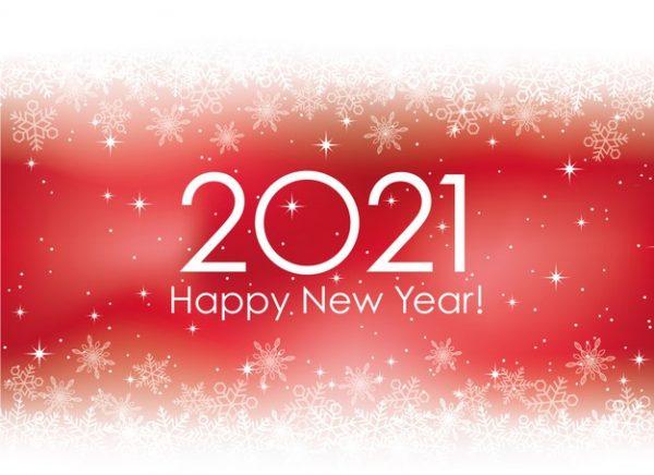 وکتور آماده دانلود کارت تبریک سال نو 2021 با دانه های برف