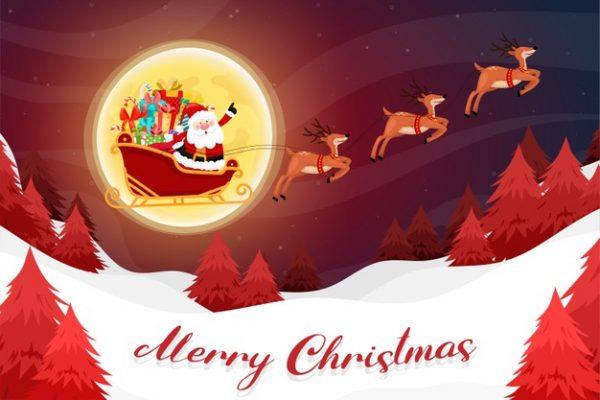 وکتور آماده دانلود کارت کریسمس مبارک با بابانوئل سورتمه سوار