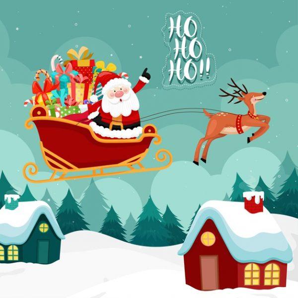 فایل psd وکتور بابانوئل و سورتمه ی پر از هدایای کریسمس