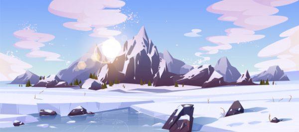 فایل آماده دانلود وکتور چشم انداز طبیعت برفی کوهستان