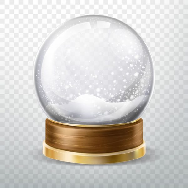 وکتور آماده دانلود کره کریستالی با بارش برف