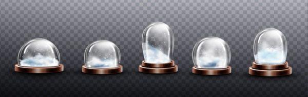 وکتور آماده دانلود مجموعه گنبدهای شیشه ای با برف ظروف نیمکره کریستال پایه برنجی
