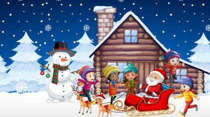 وکتور آماده دانلود بچه ها و بابانوئل شب کریسمس