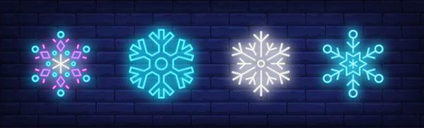 فایل آماده دانلود وکتور مجموعه علامت بارش برف به سبک نئون