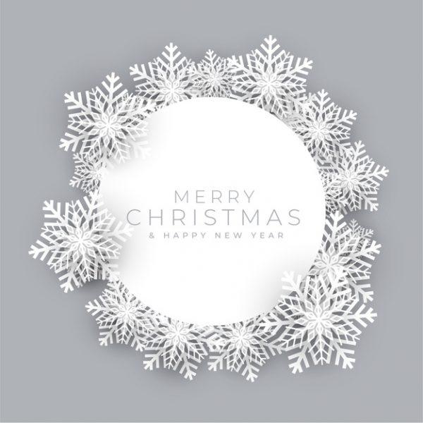 فایل psd وکتور قاب دانه های برف کریسمس مبارک