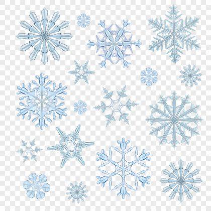 وکتور آماده دانلود دانه های برف شفاف آبی