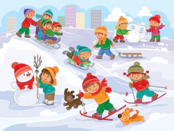 فایل آماده دانلود وکتور کودکان و نوجوانان در بازی های زمستانی