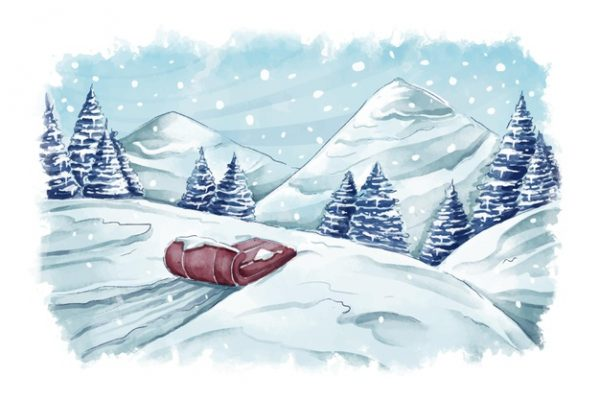 فایل آماده دانلود وکتور آبرنگ چشم انداز زمستانی و سورتمه