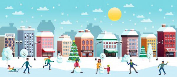 فایل آماده دانلود وکتور تصویر منظره زمستان شهر