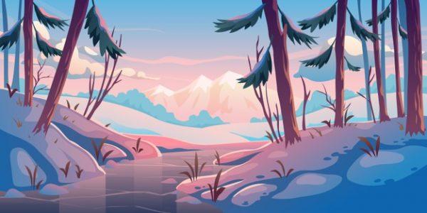 فایل psd وکتور جنگل زمستانی با رودخانه یخ زده