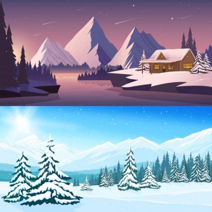 فایل آماده دانلود وکتور مناظر افقی منظره زمستانی با درختان کوه رودخانه خانه شب و روز