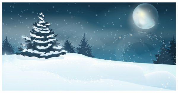 وکتور آماده دانلود چشم انداز زمستانی با تصویر درخت صنوبر ماه