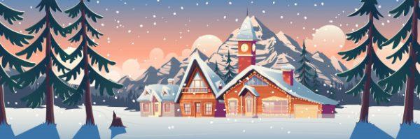 فایل psd وکتور چشم انداز کوهستانی زمستان با خانه ها