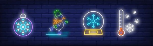 فایل آماده دانلود وکتور مجموعه نمادهای زمستانی به سبک نئون