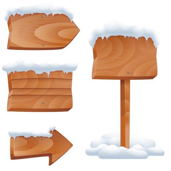 فایل آماده دانلود وکتور علامت های چوبی با برف