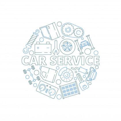 فایل psd وکتور خدمات اتومبیل قطعات مکانیکی اتومبیل دایره شکل استارتر موتور گاراژ دنده