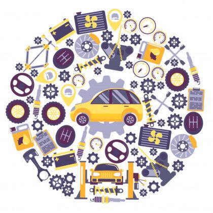 فایل آماده دانلود وکتور آیکون های سرویس اتومبیل تعمیر و نگهداری وسایل نقلیه