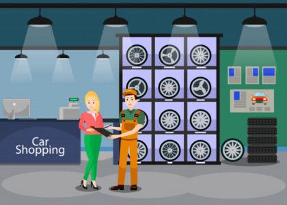 وکتور آماده دانلود نمای داخلی فروشگاه قطعات یدکی خودرو