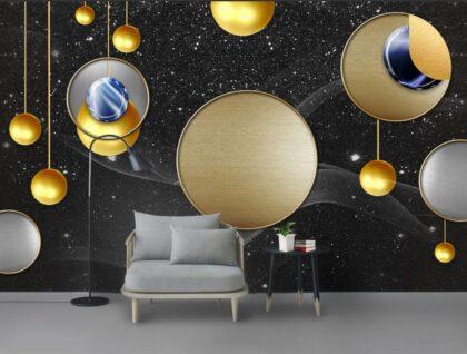 دانلود کاغذ دیواری طلایی هندسی انتزاعی