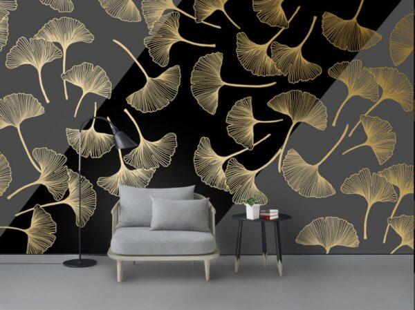 دانلود کاغذ دیواری برگهای طلایی بافت خط